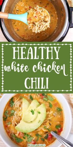 This Healthy White Chicken Chili is a delicious, creamy chili that you can make in the Instant Pot, Crockpot or on the stove top! This clean eating recipe is healthy comfort food your whole family will love! Clean Eating Chicken, Clean Eating Recipes For Dinner, Healthy Dinner Recipes, Healthy Comfort Food, Healthy Eating, Quick Healthy Food, Healthy Crockpot Recipes, Instant Pot, Stove