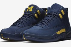 purchase cheap 02ae8 15f66 Here is a detailed look at the new Air Jordan 12 Michigan PE Sneaker  Available HERE at Footaction, HERE at Eastbay , HERE at Footlocke. Mark D.  Shoes