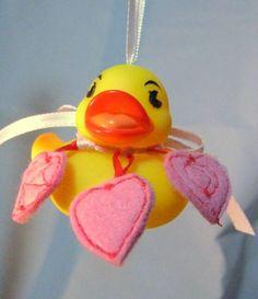 Be My Valentine Rubber Ducky With Three Machine Embroidered Hearts | Wyverndesigns - Children's on ArtFire