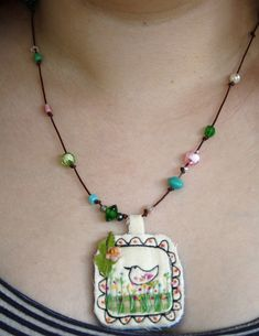 textile pendant by hens teeth, via Flickr