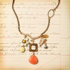 Golden Branch Necklace Coral by Elements Jill Schwartz