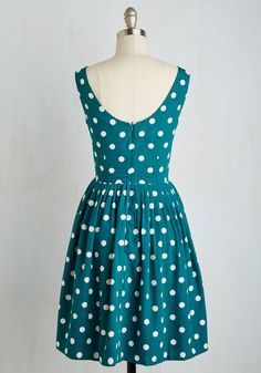 Daytrip Darling Dress in Teal Dots. When you only have one day away, make it count in this festive teal blue dress from hard-to-find British brand Emily and Fin! #black #modcloth