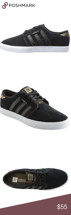 """NWT Men's Adidas Seeley Sneaker Size 9 w/ box Men's Adidas Seeley Sneaker.Comfortable, synthetic leather """"3-Stripes"""" detail, and a vulcanized rubber outsole.Pair these with almost anything and have a look that's on point.Great style and price. Black/Grey Stripes. Adidas Shoes Sneakers"""