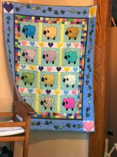 Applique Sheep QuiltCUSTOM ORDER by QuiltedbySandra on Etsy