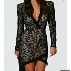 Black And Cream Lace Tulip Dress Xs