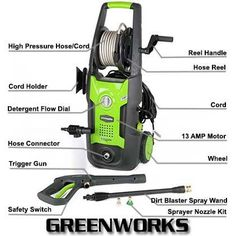 GreenWorks GPW1702 1700 PSI 1.2 GPM Electric Power Washer Review Best Pressure Washer, Pressure Washers, Cord Holder, Hose Reel, Safety Switch, Electric Power, Outdoor Power Equipment, Club, Top