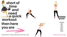 Short of time and want a quick total body workout then here you go, these 3 moves will sculpt your shoulders, get rid of bingo wings, tone your abs and waist, sculpt your booty and slim your thighs. 3 moves and do each move for 1 minute- then either do 2 or 3 rounds depending on how much time you have. Lucy xx