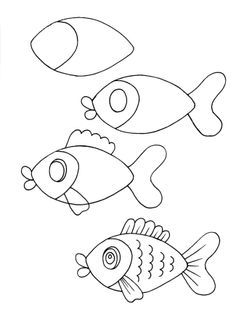 Easy animals drawing drawing how to draw easy cute cartoon animals step by step plus easy . easy animals drawing easy easy pictures of animals to draw step Easy Animal Drawings, Fish Drawings, Doodle Drawings, Cartoon Drawings, Doodle Art, Fish Cartoon Drawing, Funny Drawings, Art Drawings Easy, Cartoon Illustrations