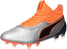 cb36bb2bd94d Puma Men s ONE 1 LTH FG AG Silver-Shocking Orange Black Football Boots-6  UK India (39 EU) (10473501)  Buy Online at Low Prices in India - Amazon.in