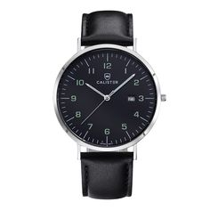 The Bauhaus Silver & Numbered Black Dial with Leather Strap brings new dimensions of elegance and comfort to Bauhaus design. The large 41mm diameter contrasts the slenderness of the polished stainless steel case. - BAU006 - #calister