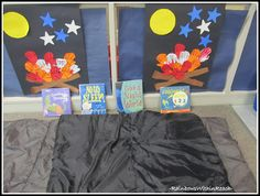Preschool Summer Learning Center on Camping Theme  handprint fire, with glow in dark stars (crayons)