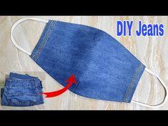 Jean Crafts, Denim Crafts, Diy Jeans, Reuse Jeans, Reuse Old Clothes, Diy Clothes, Easy Face Masks, Diy Face Mask, Sewing Patterns Free