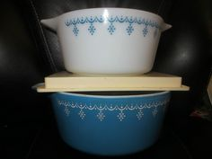 Vintage PYREX Garland Casseroles No Lids White Blue Lot of 2