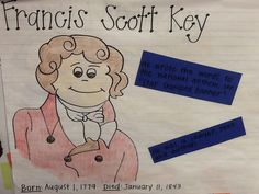 Francis Scott Key, first grade, historical people Social Studies Activities, Activities To Do, Reading Activities, First Grade Classroom, Preschool Classroom, Lesson Plan Binder, Francis Scott Key, Key Projects, Anchor Charts