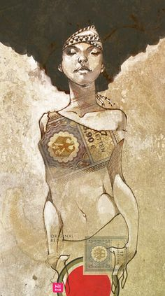 """Brown is Beauty"" - Chuma, 2008 {figurative art standing female african-american black woman afro digital drawing #loveart} chuma.deviantart.com"