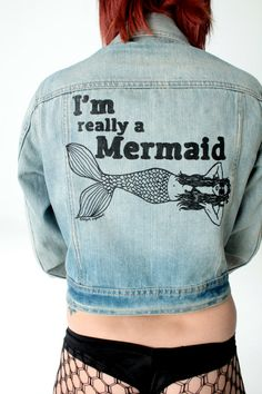 I'm Really A Mermaid Vintage Denim Jacket by RaggedVagabond, $49.00
