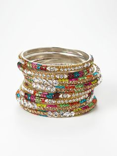 Set of 8 multicolor crystal bangles from Chamak jewwelry. $52.