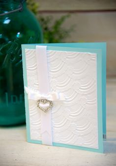 Simple card using Spellbinders 3-D Embossing Folders. #wedding #cardmaking #summercrafts