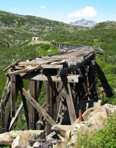 Abandoned White Pass & Yukon Route Railroad bridge trestle ( As for the old Dead Horse Gulch railroad bridge and trestle, it must have been really something back in the late 1890s when wannabe Yukon Corneliuses rode the White Pass & Yukon Route railroad to the heart of the Klondike, chasing dreams of silver and gold.)