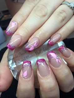 Amanda Trivett created these wonderful #nails using CND Shellac Tutti Fruiti French with #Lecenté #glitters, Silver Holographic & Candy Pink, handpainted design & Swarovski Crystals #nails #nailart
