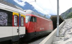 A train entering Gottardo, the longest rail tunnel in the world