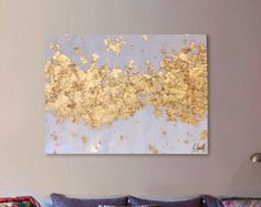 """SOLD! Original Acrylic Abstract Art Painting Ikat Canvas Pink, Gold, Pastel, Ombre Glitter 20"""" x 24"""" Gold Leaf Resin Coat от BlueberryGlitter"""