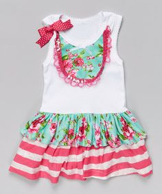 Love this Teal & Pink Rose Ruffle Dress - Infant, Toddler & Girls by Ruby and Rosie on #zulily! #zulilyfinds