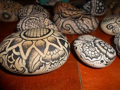 6 Piece Painted Rock Assorment by WoolandRocksandLight on Etsy, $24.00