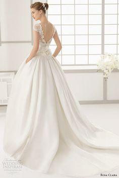 rosa clara 2016 bridal collection bateau neckline short sleeves wedding ball gown with pockets v cut low back full dallas