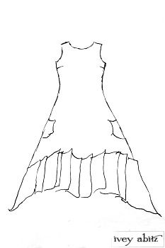 Fairholme Frock by Ivey Abitz.  Like some of the other designs, the pleating is attached along a curved line in the main part of the frock that is encased by wire.  This gives the skirting more shape and voluminosity and allows the wearer to sculpt the bottom hem to their liking.