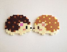 Hérisson - Hedgehogs hama perler beads by HamaBasi Hama Beads Design, Diy Perler Beads, Perler Bead Art, Pearler Beads, Hama Beads Kawaii, Hama Beads Coasters, Perler Bead Designs, Melty Bead Patterns, Pearler Bead Patterns