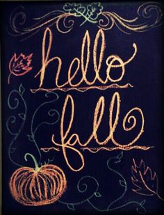 Fall chalkboard ideas and inspiration. Make things easy on yourself and use Wallies' peel-and-stick chalkboard sheets instead of messy chalkboard paint. Sheets come in all sizes and remove easily with no sticky mess. Fall Chalkboard Art, Chalkboard Doodles, Blackboard Art, Chalkboard Writing, Chalkboard Drawings, Chalkboard Lettering, Chalkboard Designs, Chalk Drawings, Chalkboard Ideas
