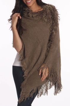 Rikka Rita Shawl Poncho In Brown