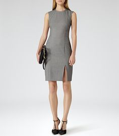Womens Grey Seam Detail Dress - Reiss Lola