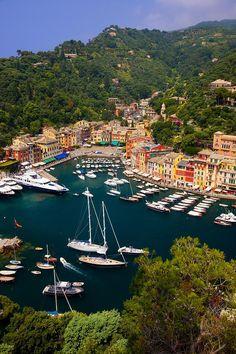 Boats moored in the tiny harbor town of Portofino, Liguria, Italy by Portofino, What else?