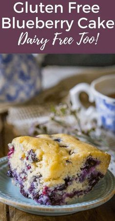 Perfect Gluten Free Blueberry Cake, it's super easy to make from scratch and a real treat and great for breakfast! It's dairy free too & you can freeze it.