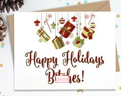 Mature, Funny Holiday Card, Christmas Card, Christmas Gift, Holiday Gift, Funny Greeting, Funny Card, Happy Holidays, FourLetterWordCards by FourLetterWordCards on Etsy https://www.etsy.com/listing/249289461/mature-funny-holiday-card-christmas-card