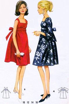 1960s Evening Cocktail Party Dress Pattern Butterick 4235 Empire Style Tent Dress Square Neckline Regular or Bell Sleeves Bust 34 Vintage Sewing Pattern FACTORY FOLDED