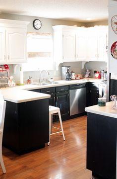 Black Bottom And White Top Kitchen Cabinets black and white kitchen with white top cabinets and black bottom