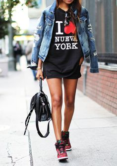 I love New York tshirt with denim jacket on