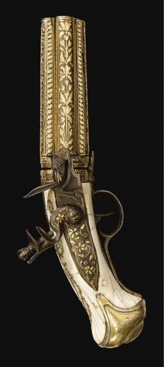 A four-barrelled flintlock revolver with ivory handle, India or possibly Turkey, 19th century