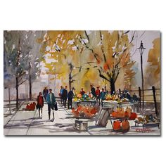 This ready to hang, gallery-wrapped art piece features people at a farm market. Ryan Radke has been painting watercolors for over 17 years. He is a very accomplished, award winning artist who enjoys t