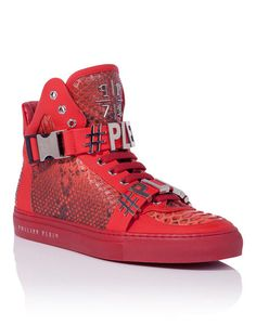 """Philipp Plein High Sneakers """"KING OF THE HILL"""" Men Red"""