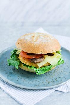 Vegeburger with mushrooms