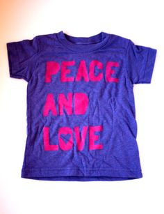 peace and love. orchid and pink tee for kids. #kids #clothes #peace #love