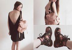 Asos Nude Backpack, <3 Dr.Martens Flower Dr. Martens, Inlovewithfashion Via Dress With Open Back | GO EXPLORE. (by Juule Kay) | LOOKBOOK.nu