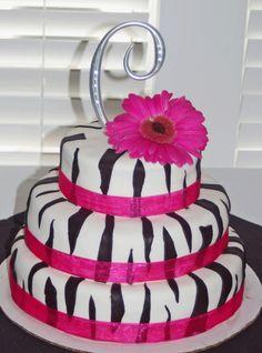 Zebra bridal shower cake