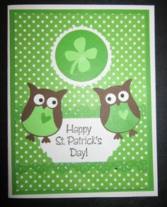stampin up owl punch cards   St. Patrick's Day card - Stampin' Up Owl punch
