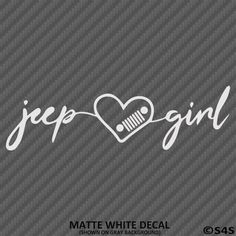 Jeep Girl Signature Heart with Grille Vinyl Decal - Matte White / 6\W x 1.75\H
