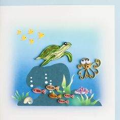 Turtle and underwater scene Quilled